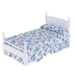 1:12 Puppenhaus Mini MöBel Schlafzimmer Modell Holzblau Blu