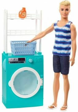 Barbie Ken Doll and Laundry-Themed Playset w/ Spinning Washe