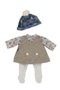 Puppen Kleidung  mit Trägerkleid grau für Babypuppe Schlum